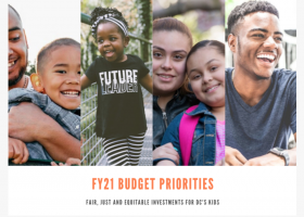 Children and families with tagline 2021 budget priorities